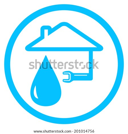 blue round plumber icon with wrench and house silhouette