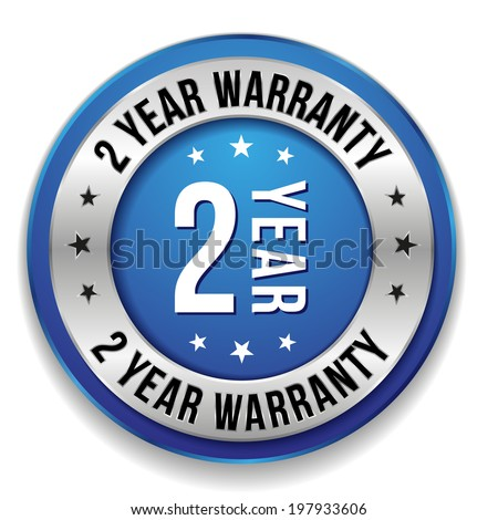 Blue round two year warranty badge on white background - stock vector