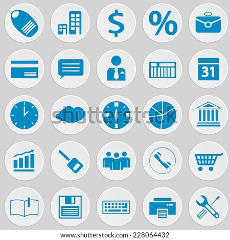 Blue round web / mobile / seo / media isolated icon vector set