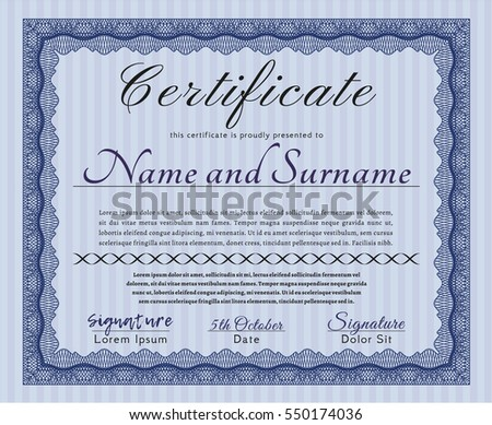 Blue Sample Certificate. Money design. Customizable, Easy to edit and change colors. With guilloche pattern and background.