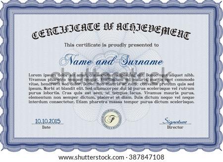 blue sample certificate diploma vector certificate stock vector  blue sample certificate or diploma vector certificate template elegant design complex linear