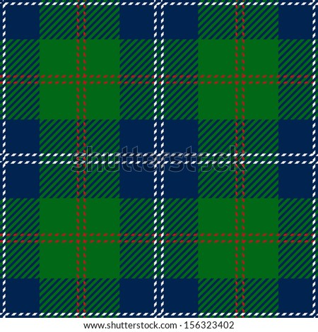 Blue Scottish Seamless Tartan Plaid - stock vector