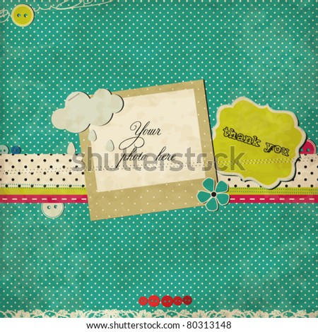 Blue scrap template - stock vector
