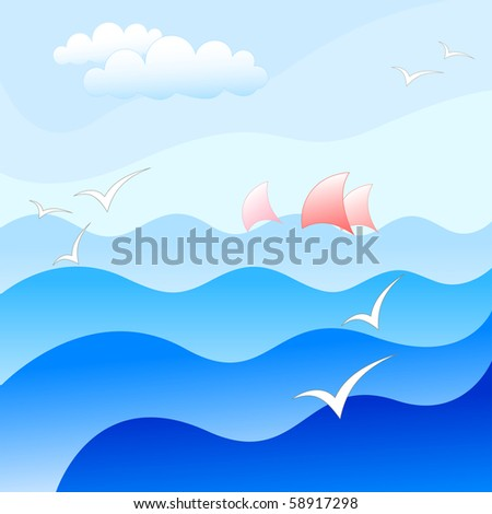 blue sea background - stock vector