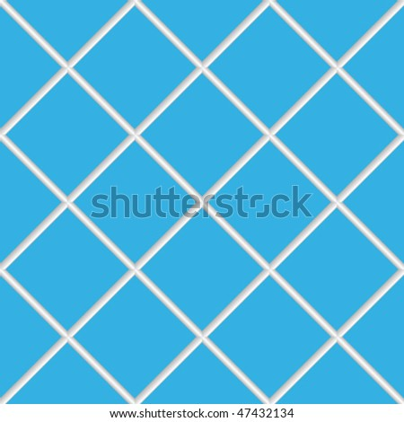 blue seamless ceramic tiles, abstract diagonal texture; vector art illustration - stock vector