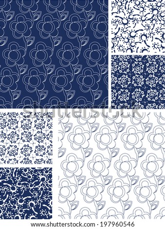Blue Seamless Floral Vector Patterns. Use as fills or print off onto fabric to create unique items. - stock vector
