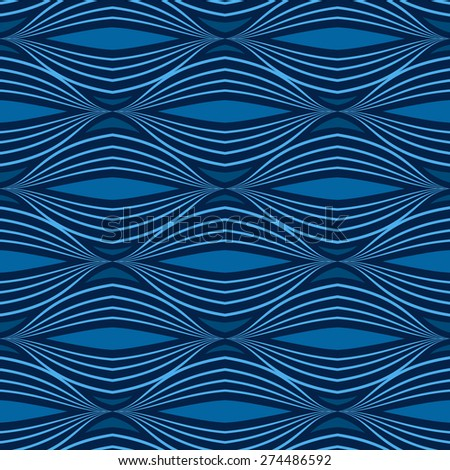Blue seamless geometric vector wallpaper pattern. - stock vector