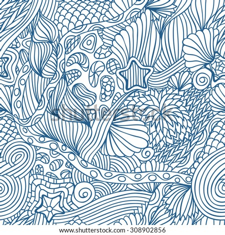 Blue seamless hand drawn pattern with marine doodle elements