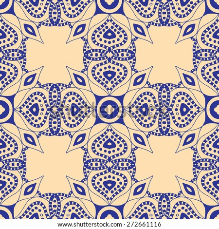 Blue seamless pattern. Design for dutch tile, background, textile - stock vector
