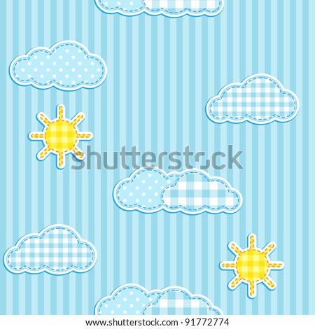 Blue seamless pattern with cute clouds and sun - stock vector