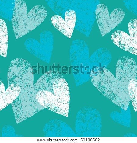 blue seamless pattern with grunge hearts - stock vector