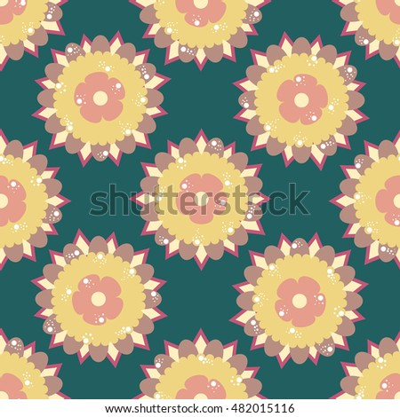 Blue seamless pattern with yellow flowers