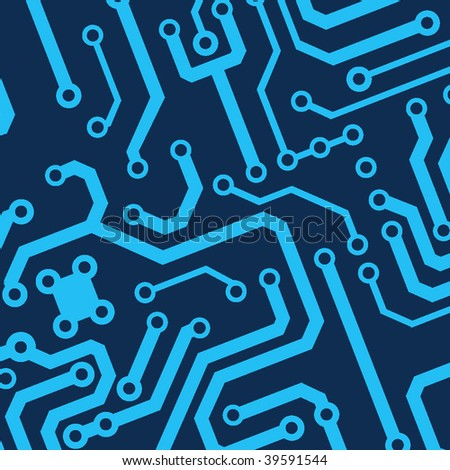 blue seamless printed circuit board pattern