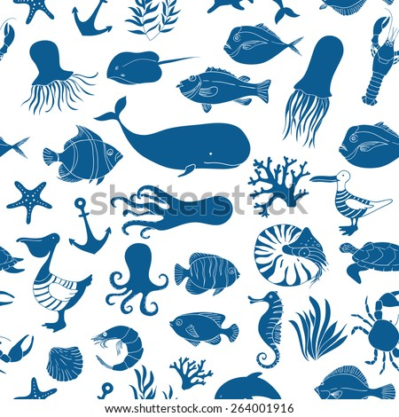 Blue seamless vector pattern. Sea animals vector illustration. Vector background.