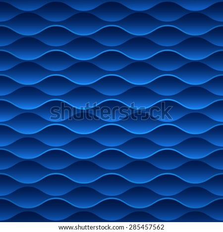 Blue seamless wavy geometric vector wallpaper pattern. - stock vector