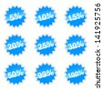 Blue set of icons with percent for your design - stock photo