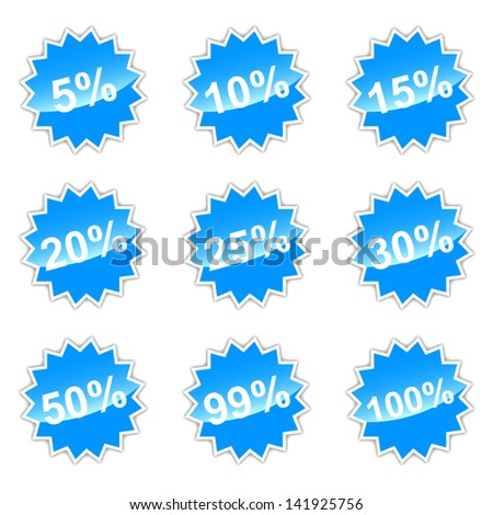 Blue set of icons with percent for your design