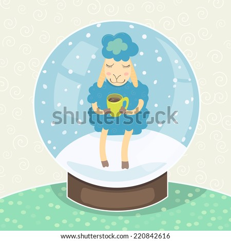 blue sheep with a mug of hot chocolate sitting in a snow globe. vector illustration. - stock vector