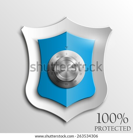 Blue shield with Combination Lock isolated on white background. Security vector sign - stock vector