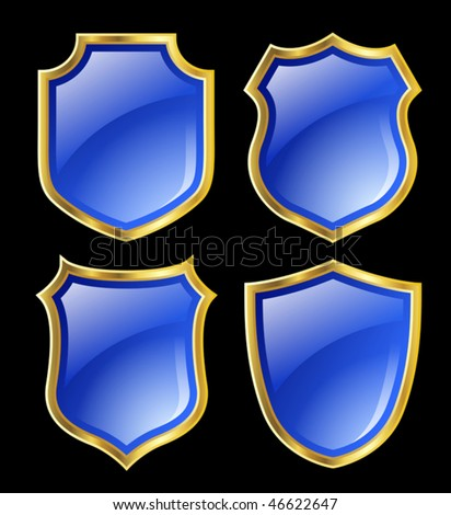 blue shield with golden border; design set with various shapes - stock vector