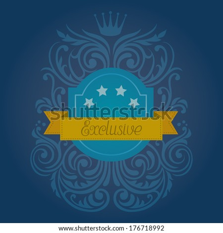 Blue shield with swirls and lettering / Exclusive - stock vector