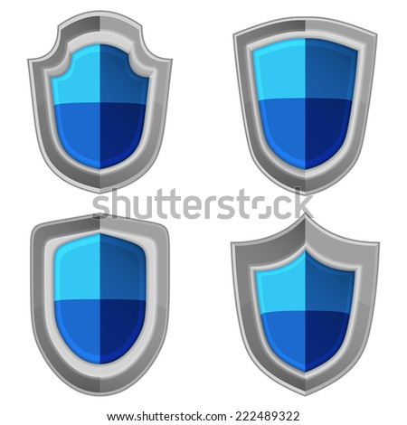 blue shields set isolated vector illustration object - stock vector