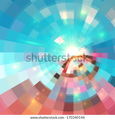 Blue shining bright tiled abstract vector background - stock vector