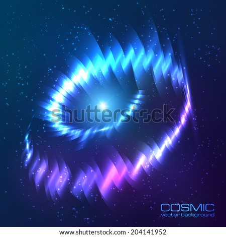 Blue shining cosmic neon light twirl - stock vector