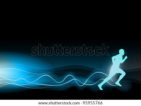 blue shining runner on the black background - stock vector