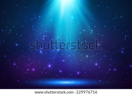 Blue shining top magic vector light background - stock vector