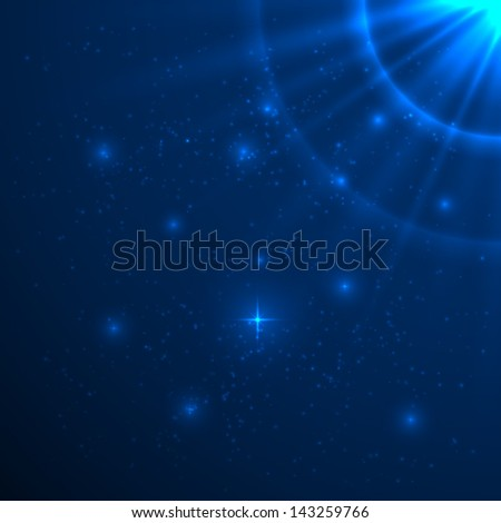 Blue shining vector background - stock vector