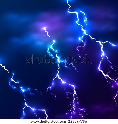 Blue shining vector lightnings background - stock vector