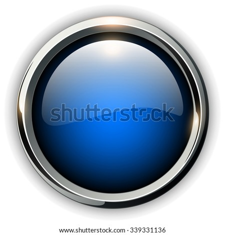 Blue shiny button with metallic elements, vector design for website. - stock vector
