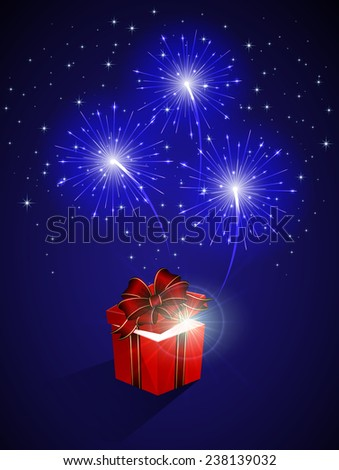 Blue shiny fireworks and gift box, illustration. - stock vector