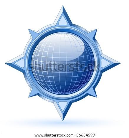 Blue shiny globe inside steel compass rose (vector) - stock vector