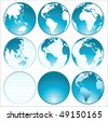 blue shiny globes collection - stock vector