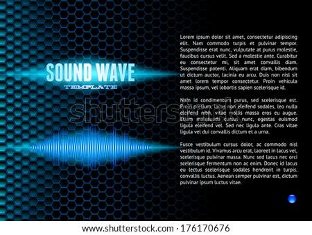 Blue shiny sound waveform on hex grid for booklet - stock vector