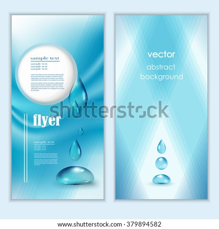 Blue shiny water drops banners set. Vector illustration. Fresh rain template for cover card design. Pure organic water. Clean water. Mountain mineral rich water. Spring water. - stock vector