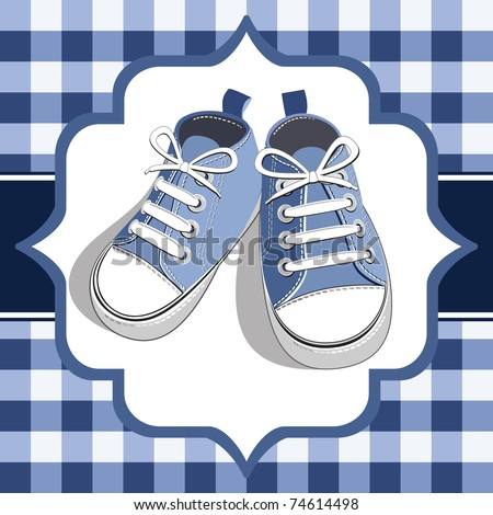 Blue shoes on a checkered background, blue childrens or young adult shoes, pair kids sneaker. - stock vector