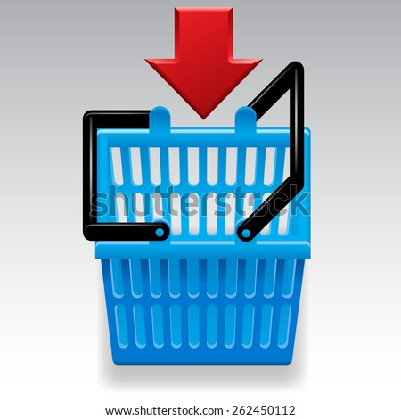 Blue shopping basket with red arrow on white background. Computer icon. Vector Illustration - stock vector