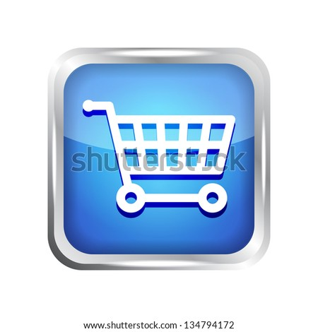 Blue shopping cart icon on a white background - stock vector