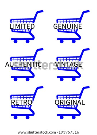 Blue Shopping Cart Icons with Vintage Texts - stock vector