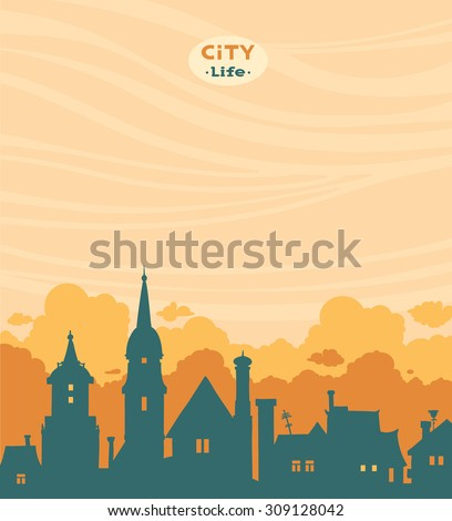 Blue silhouette of city on a cloudy sky. Vector urban landscape. - stock vector