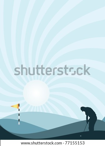 Blue silhouette of golfer playing at sunset, with rolling hills and sunburst sky - stock vector