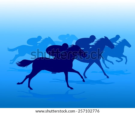 Blue silhouette of horse riders  - stock vector
