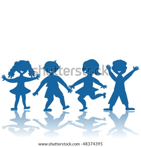 Blue silhouettes oh happy smiling children - stock vector