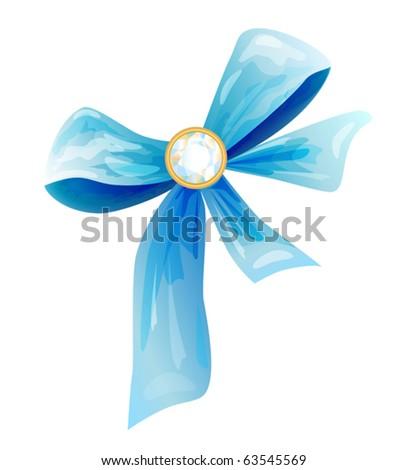 blue silk bow with diamond - stock vector