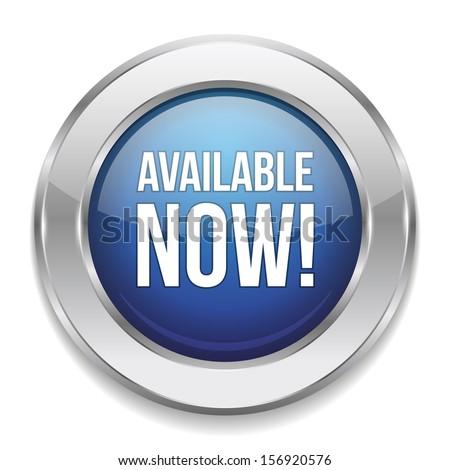 Blue silver available button - stock vector