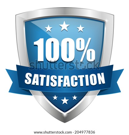Blue silver hundred percent satisfaction badge on white background - stock vector