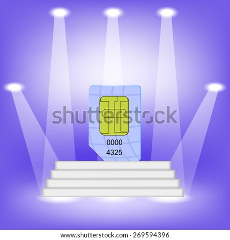 Blue SIM Card  on Light Background. SIM Card on the White Steps. - stock vector